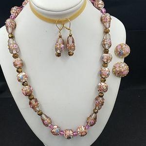 Wedding Cake Bead Necklace Earring Set